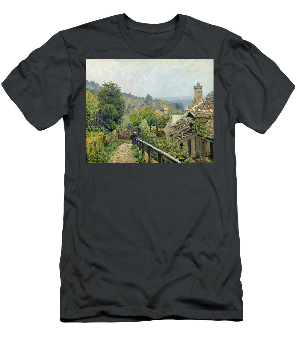 Alfred Men's T-Shirt (Athletic Fit) featuring the painting The Heights At Marly by Alfred Sisley