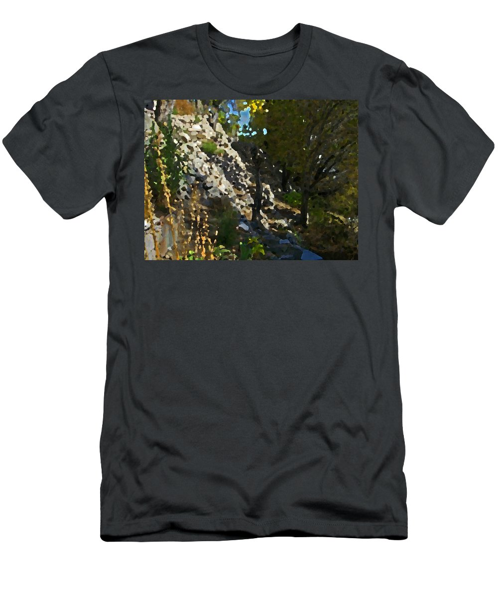 Abstract Men's T-Shirt (Athletic Fit) featuring the digital art The Hidden Garden by Lenore Senior