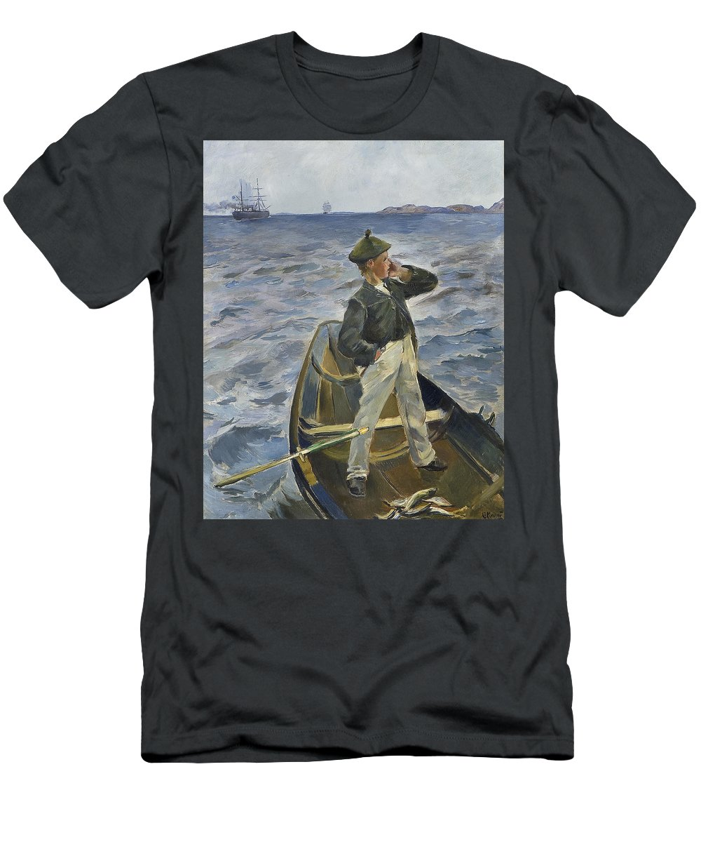 Krohg Men's T-Shirt (Athletic Fit) featuring the painting The Inshore Channel by MotionAge Designs