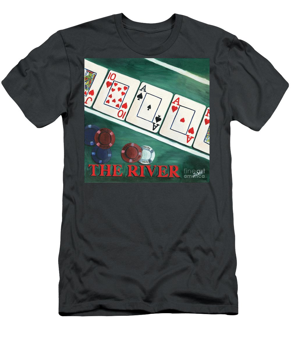 The River Men's T-Shirt (Athletic Fit) featuring the painting The River by Debbie DeWitt