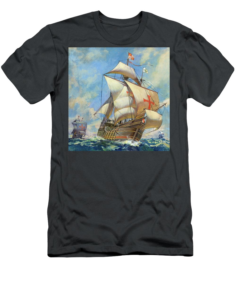 The Santa Maria Men's T-Shirt (Athletic Fit) featuring the painting The Santa Maria by James Edwin McConnell
