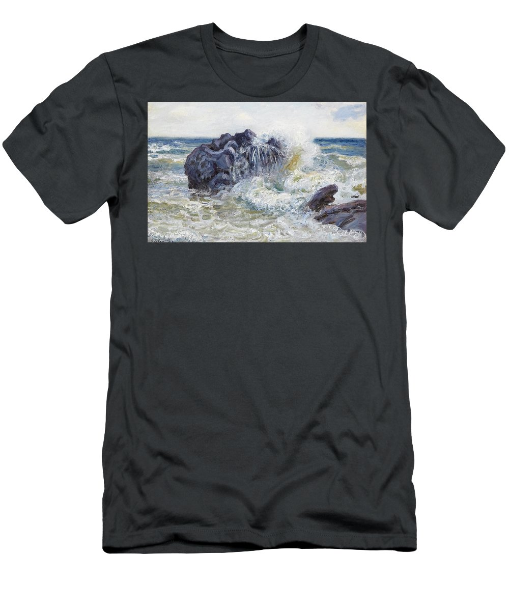 Langland Bay Men's T-Shirt (Athletic Fit) featuring the painting The Wave by MotionAge Designs