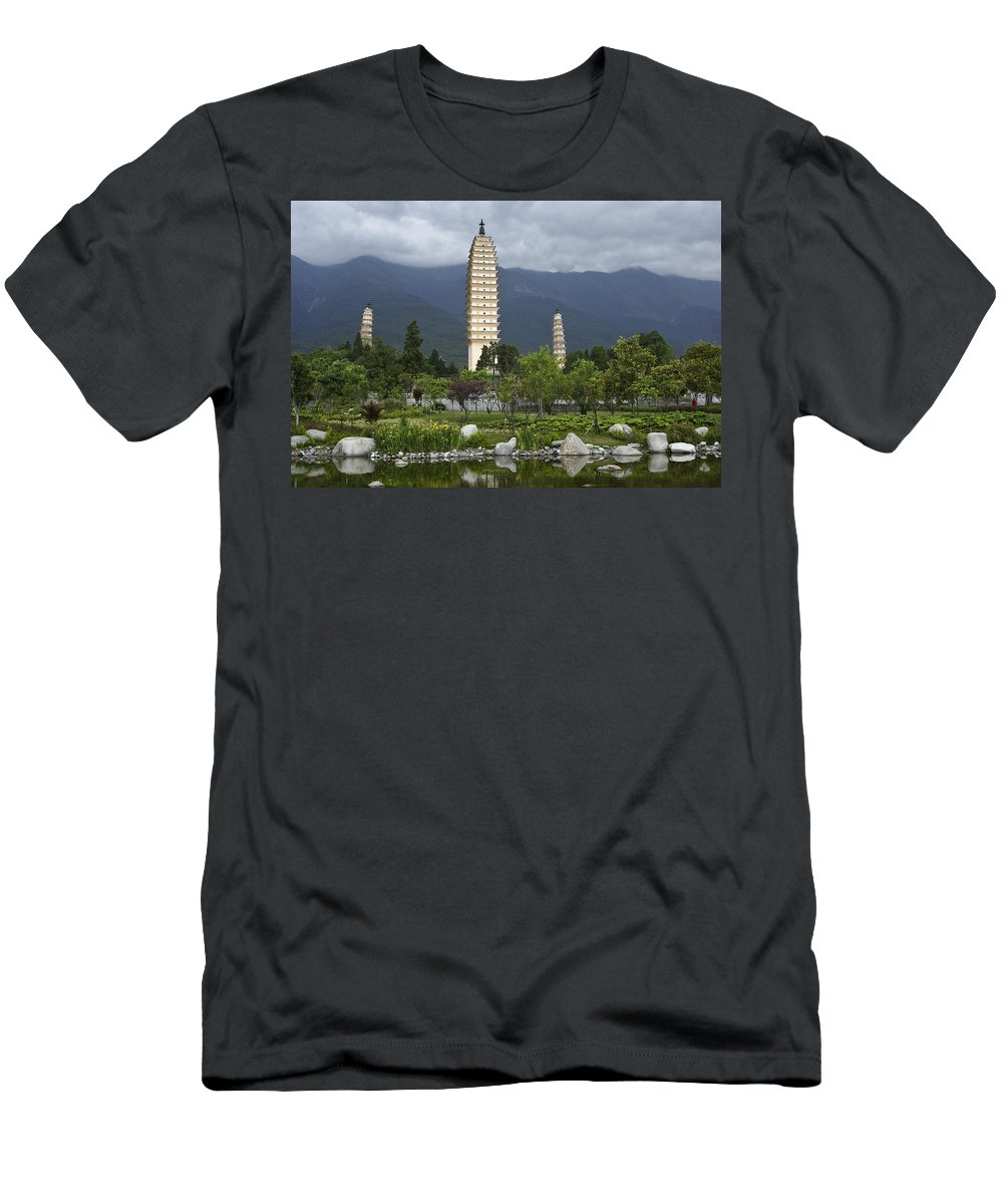 Asia Men's T-Shirt (Athletic Fit) featuring the photograph Three Pagodas Of Dali by Michele Burgess