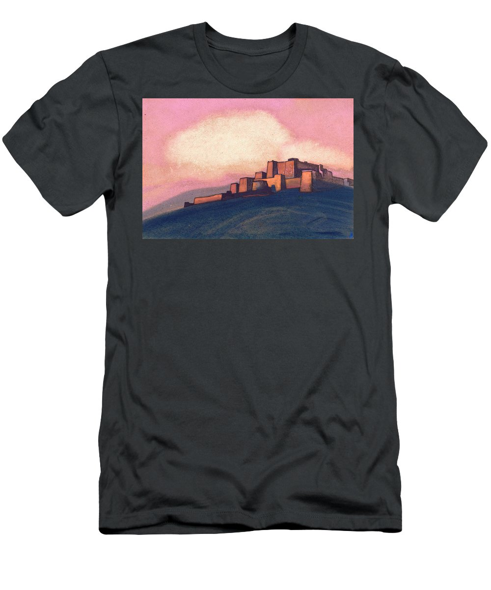Architectural Men's T-Shirt (Athletic Fit) featuring the painting Tibetan Fortress by Nicholas Roerich
