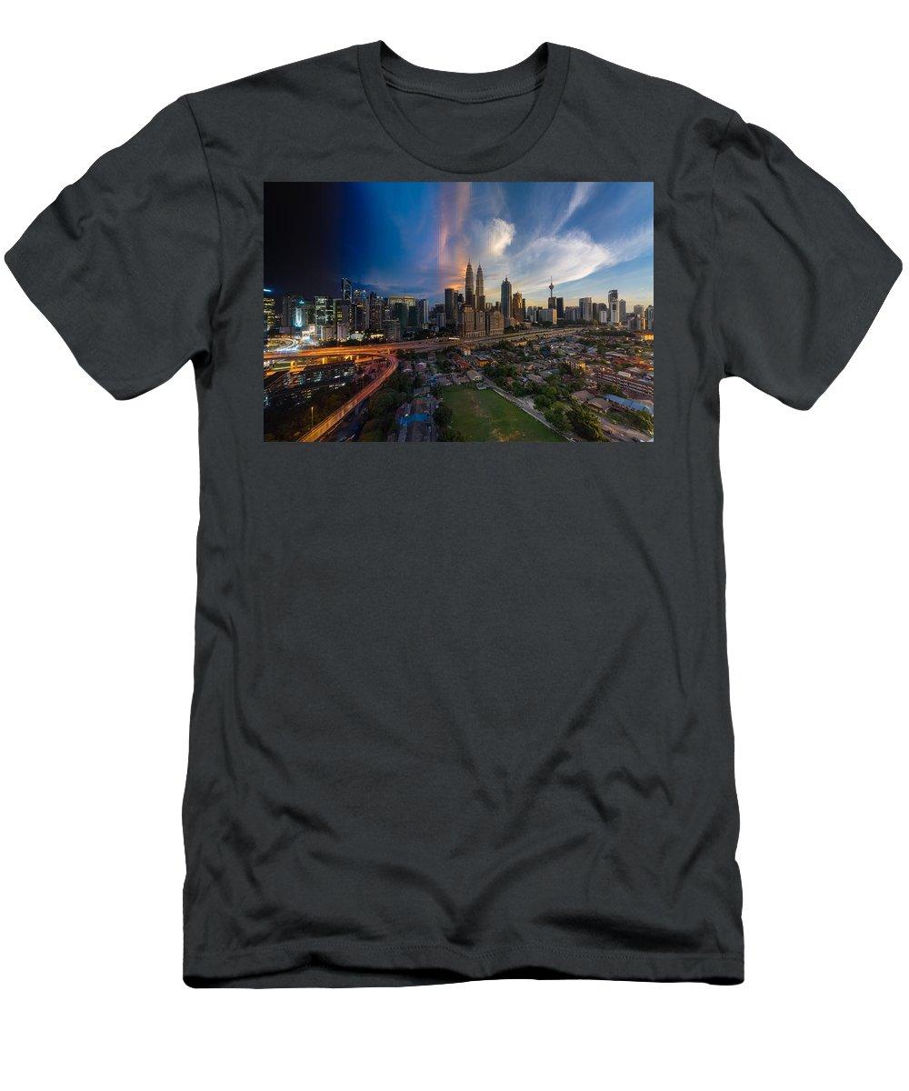 Kuala Lumpur Men's T-Shirt (Athletic Fit) featuring the photograph Timeslice Of Day To Night Of Kuala Lumpur City by Ahmad Hafidz Abdul Kadir