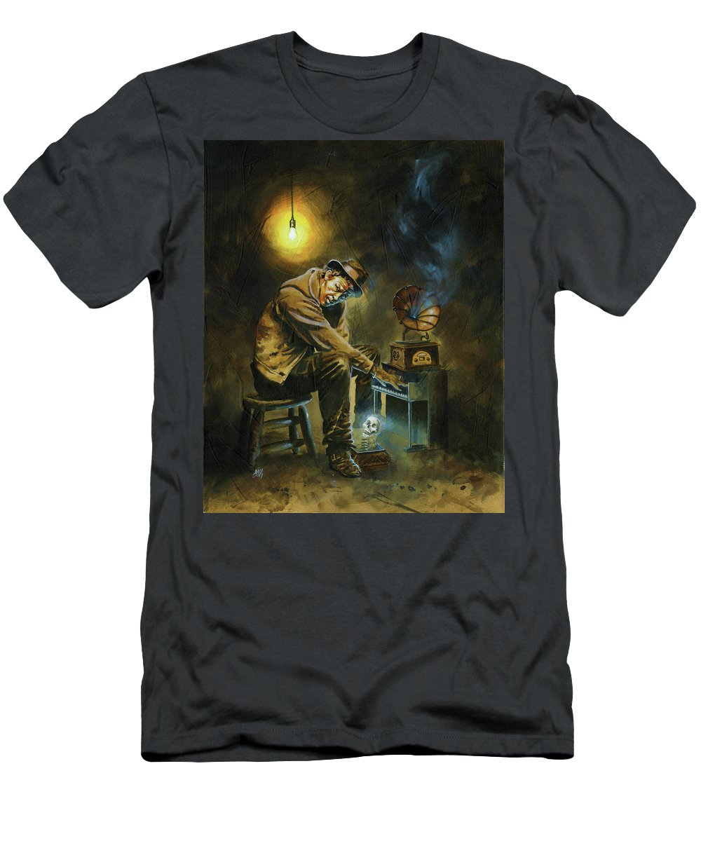 Tom Waits T-Shirt featuring the painting Tom Waits by Ken Meyer jr