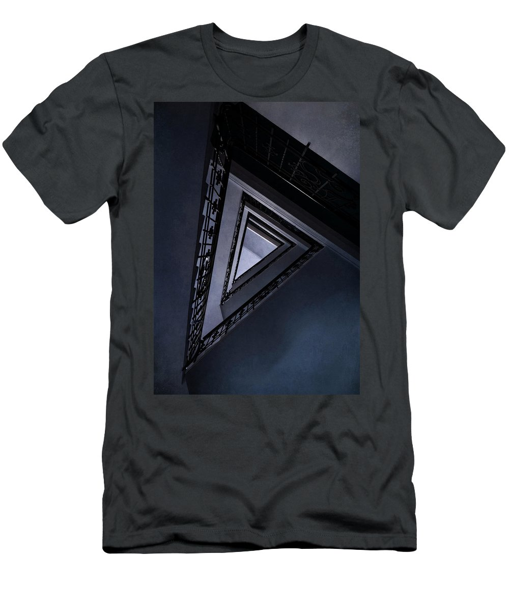 Architecture Men's T-Shirt (Athletic Fit) featuring the photograph Triangle Staircase by Jaroslaw Blaminsky