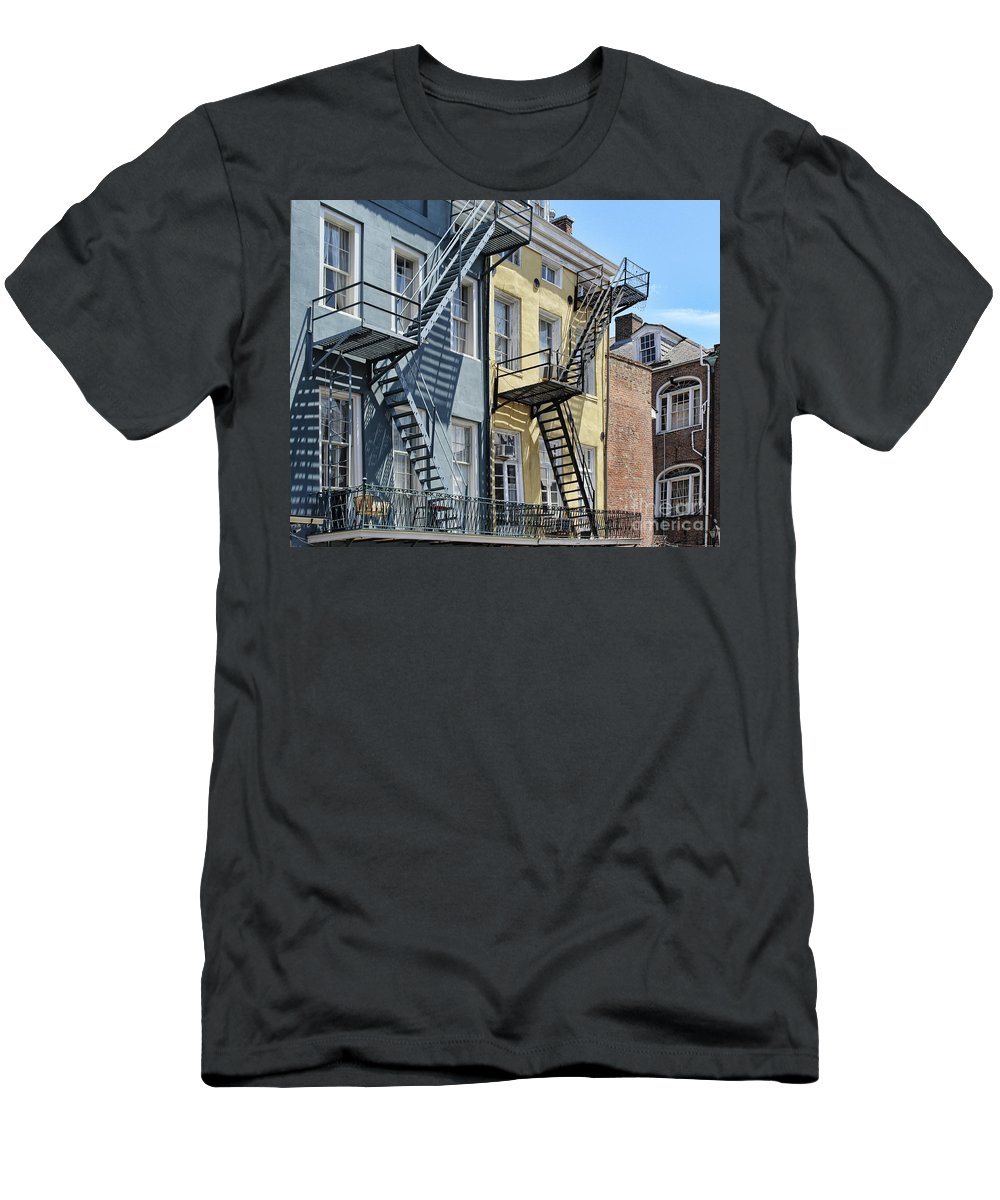 Balcony Men's T-Shirt (Athletic Fit) featuring the photograph Up The Stairs by Steven Parker