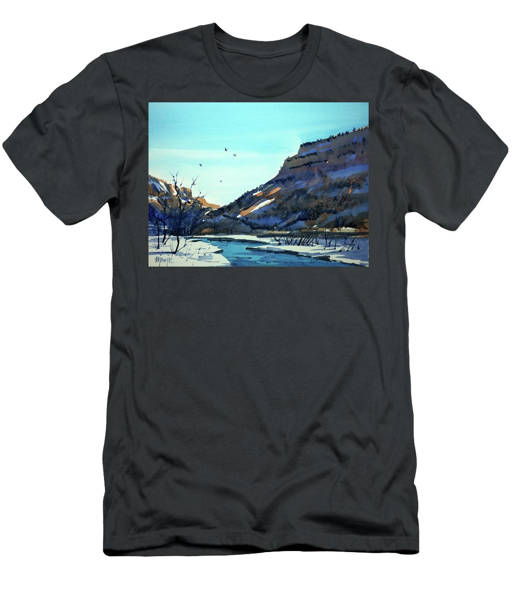 Colorado Landscape Men's T-Shirt (Athletic Fit) featuring the painting Watercolor3814 by Ugljesa Janjic