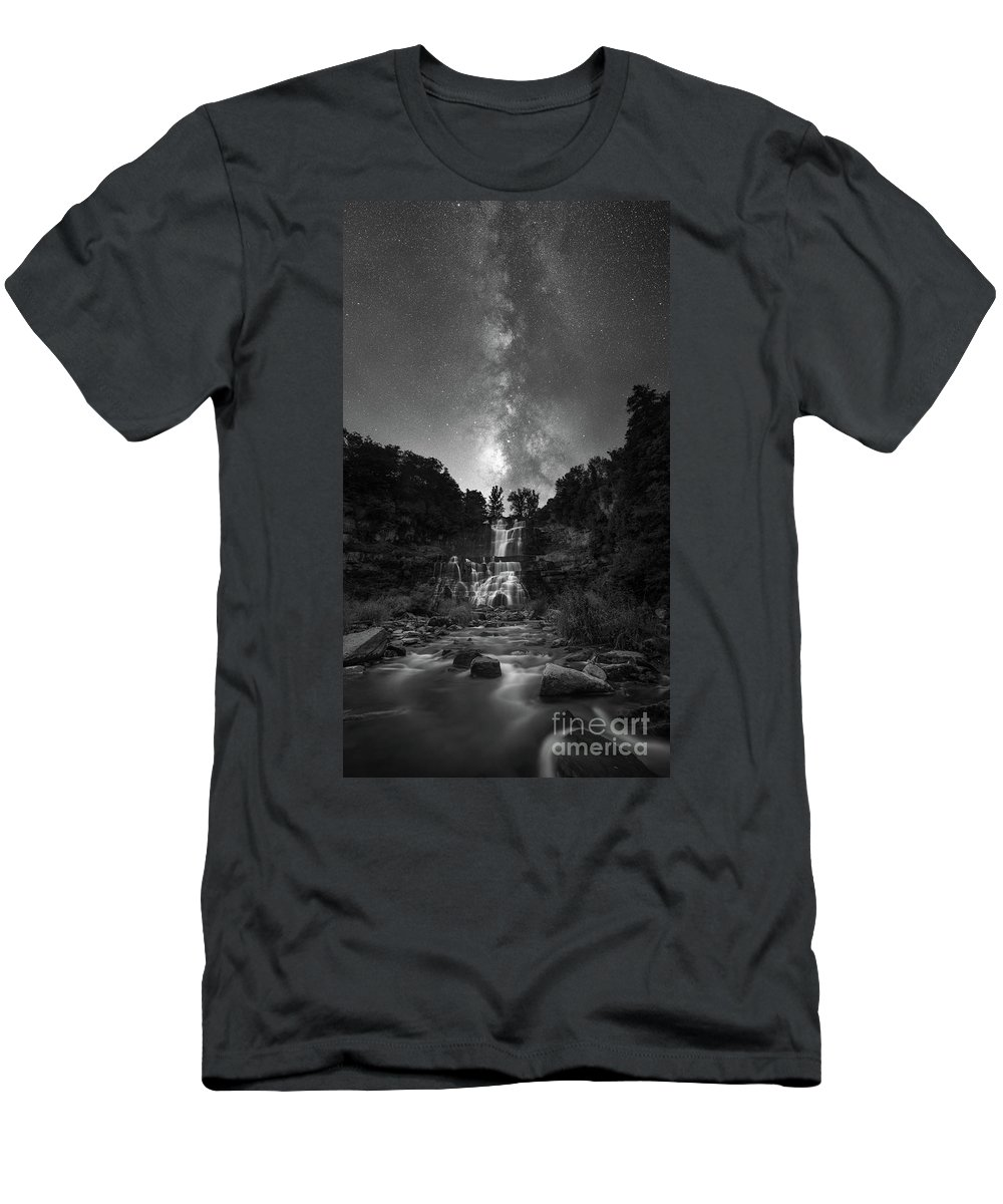 Chittenango Falls Men's T-Shirt (Athletic Fit) featuring the photograph Waterfall Milky Way by Michael Ver Sprill