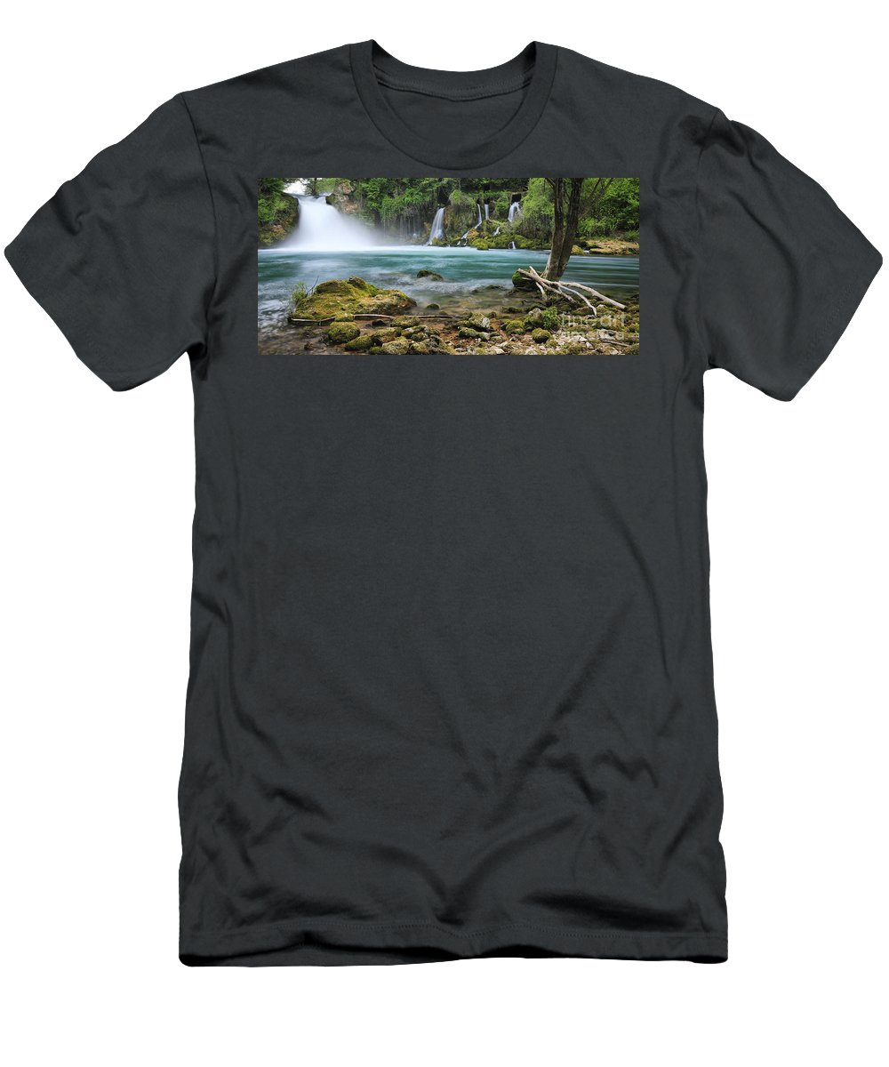 Waterfall Men's T-Shirt (Athletic Fit) featuring the photograph Waterfall by Nino Marcutti