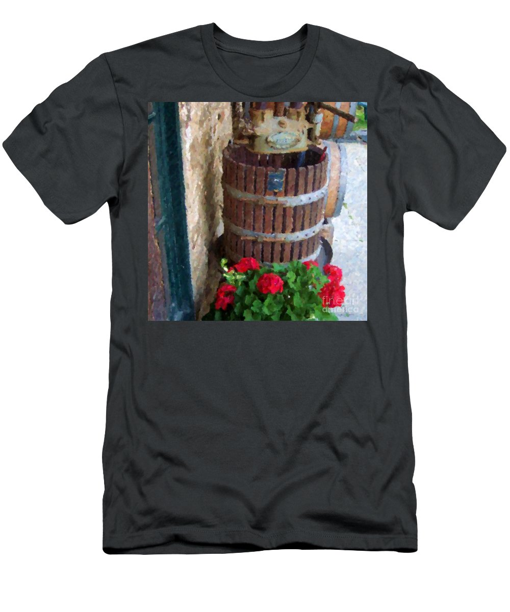 Geraniums Men's T-Shirt (Athletic Fit) featuring the photograph Wine And Geraniums by Debbi Granruth