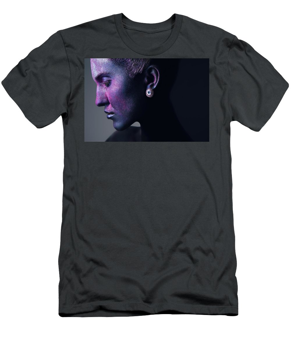 Beauty Men's T-Shirt (Athletic Fit) featuring the photograph Woman In Purple Powder by Veronica Azaryan