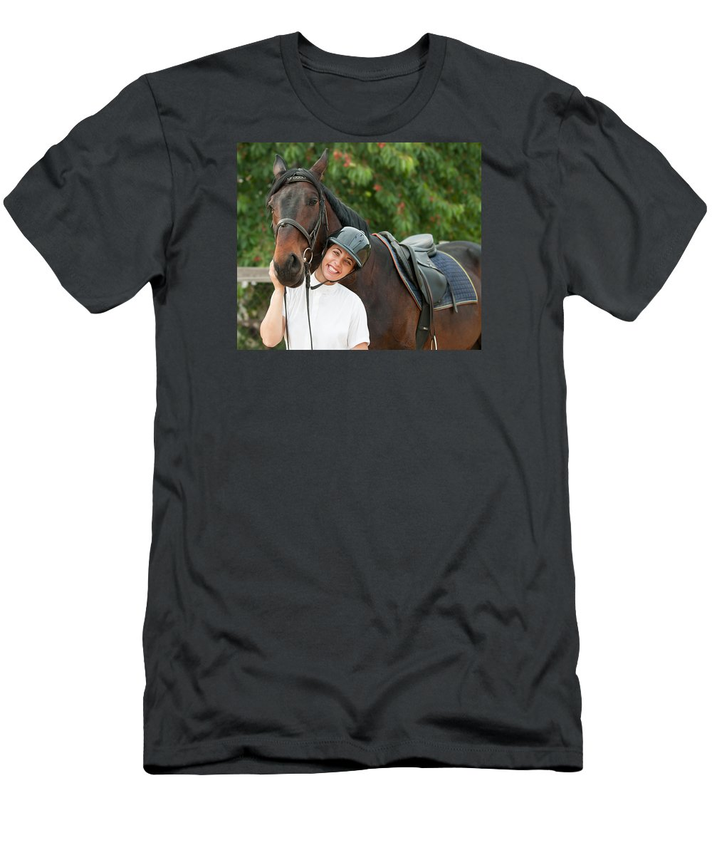 Jockey Men's T-Shirt (Athletic Fit) featuring the photograph Woman Rider And Horse 1 by Boyan Dimitrov