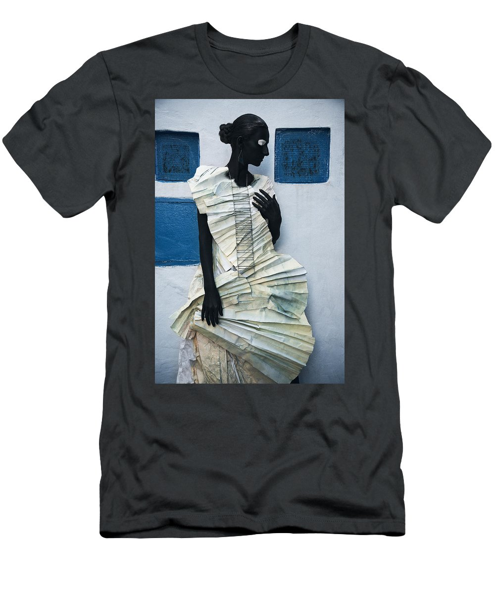 Black Men's T-Shirt (Athletic Fit) featuring the photograph Woman With Black Boby Paint In Paper Dress by Veronica Azaryan