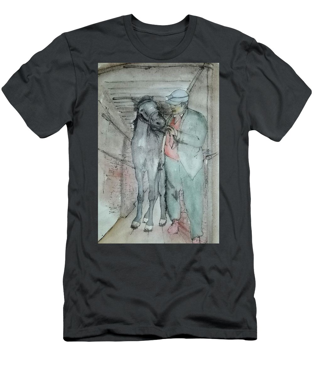 Horse. Mining. Work. Men's T-Shirt (Athletic Fit) featuring the painting Work Not Dance Album by Debbi Saccomanno Chan