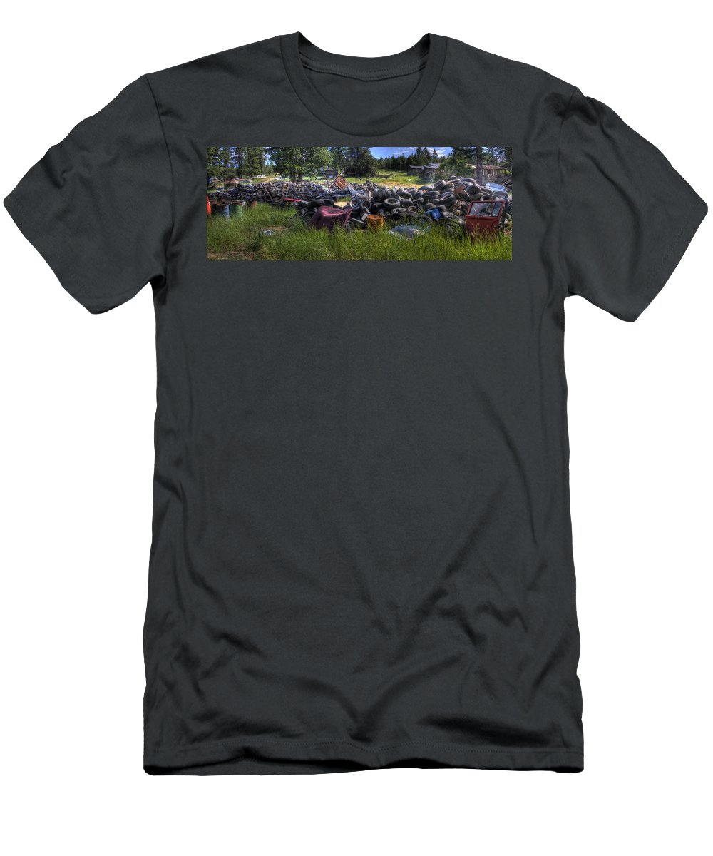 Automotive Men's T-Shirt (Athletic Fit) featuring the photograph Wrecking Yard Study 9 by Lee Santa
