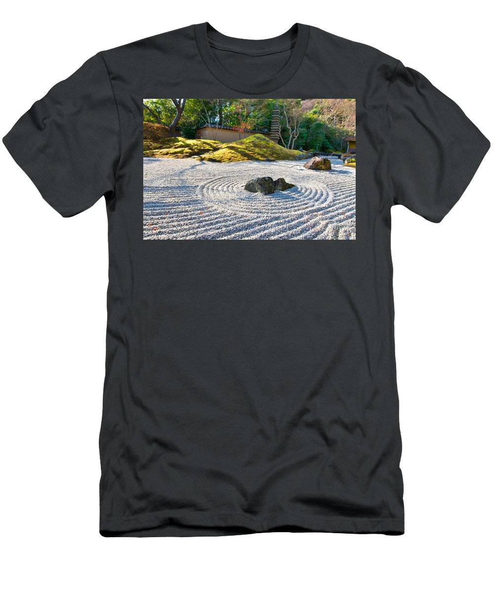 Abstract Men's T-Shirt (Athletic Fit) featuring the photograph Zen Garden At A Sunny Morning by U Schade
