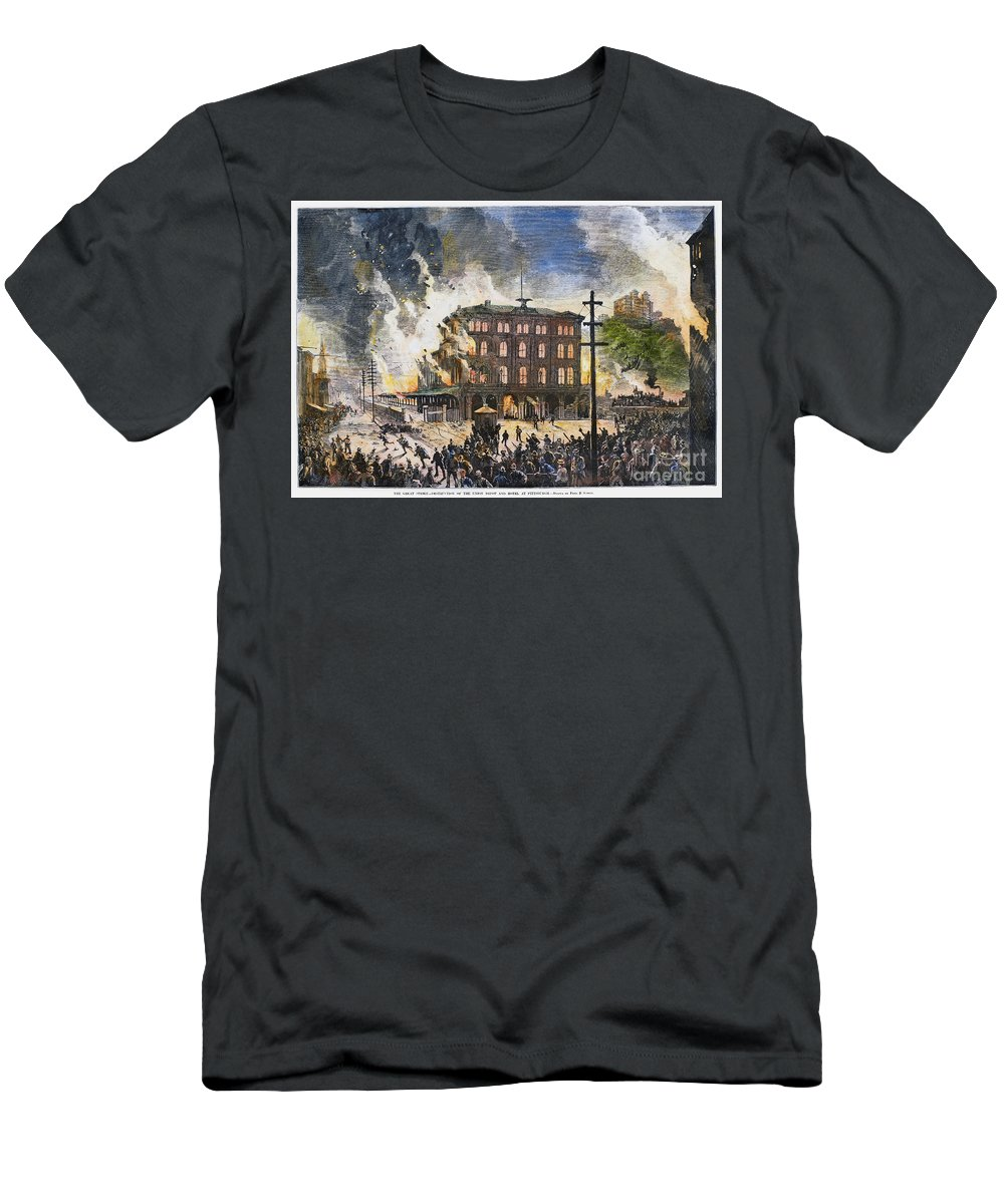 1877 Men's T-Shirt (Athletic Fit) featuring the photograph Great Railroad Strike, 1877 by Granger