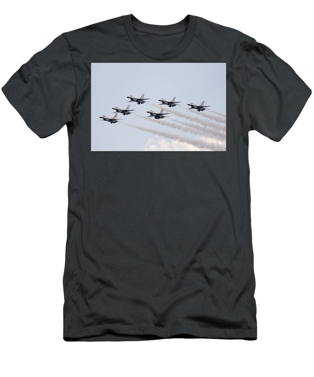 United States Air Force Men's T-Shirt (Athletic Fit) featuring the photograph Usaf Thunderbirds by Victor Alcorn
