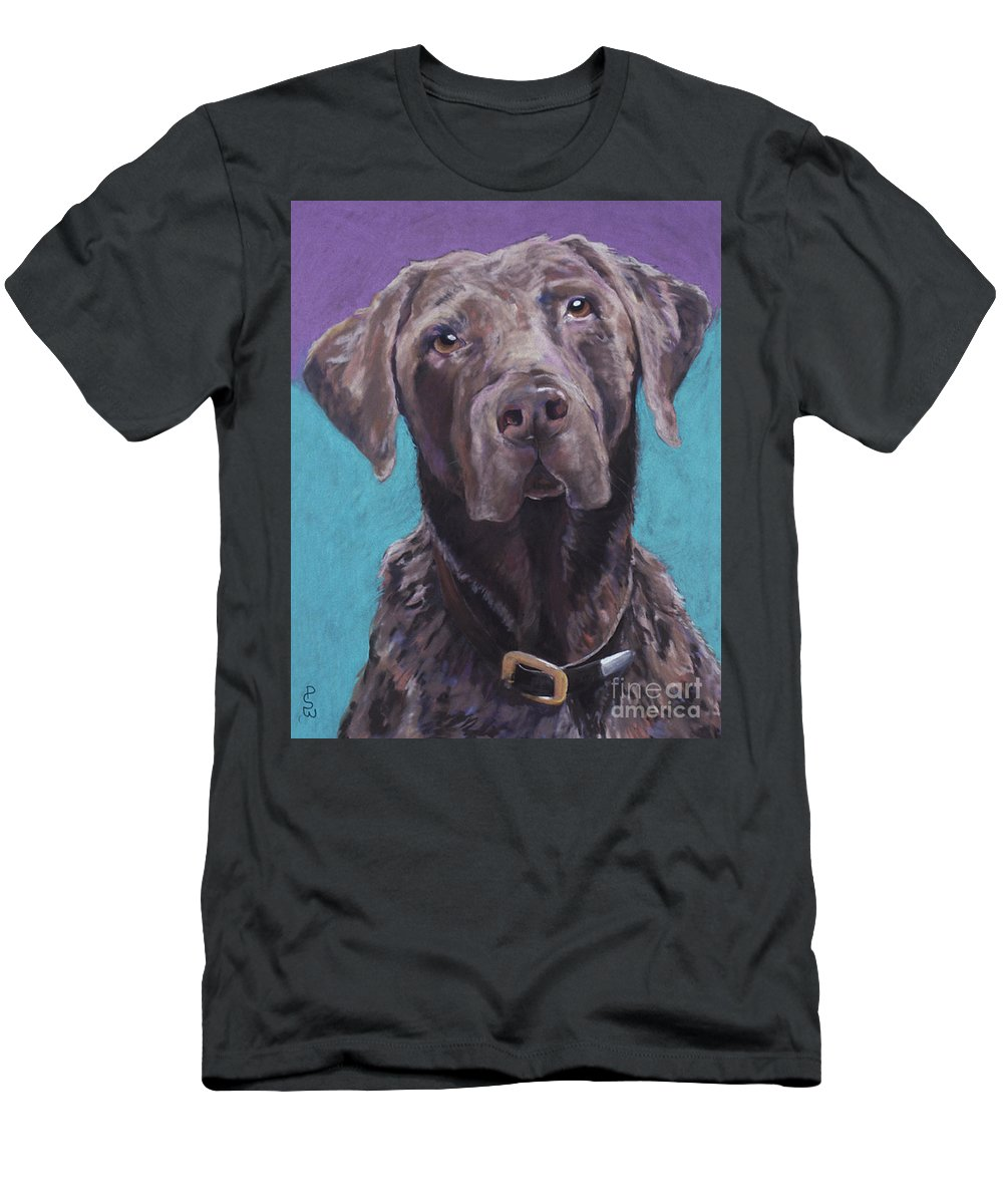 Pet Portrait Commissions Men's T-Shirt (Athletic Fit) featuring the pastel 100 Lbs. Of Chocolate Love by Pat Saunders-White
