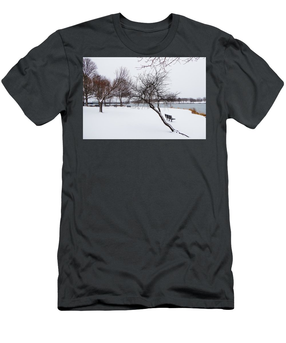 River Men's T-Shirt (Athletic Fit) featuring the photograph Obear Park In Winter by Scott Hufford