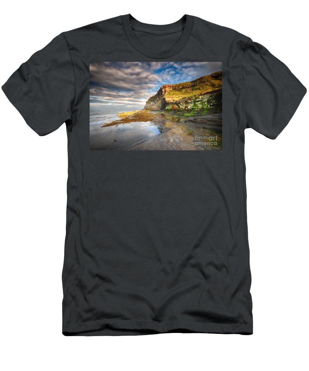 Saltwick Bay Men's T-Shirt (Athletic Fit) featuring the photograph Saltwick Bay by Smart Aviation