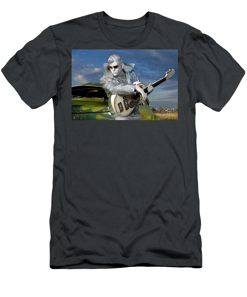 Silver Elvis Men's T-Shirt (Athletic Fit) featuring the photograph Silver Elvis by Oleksiy Maksymenko