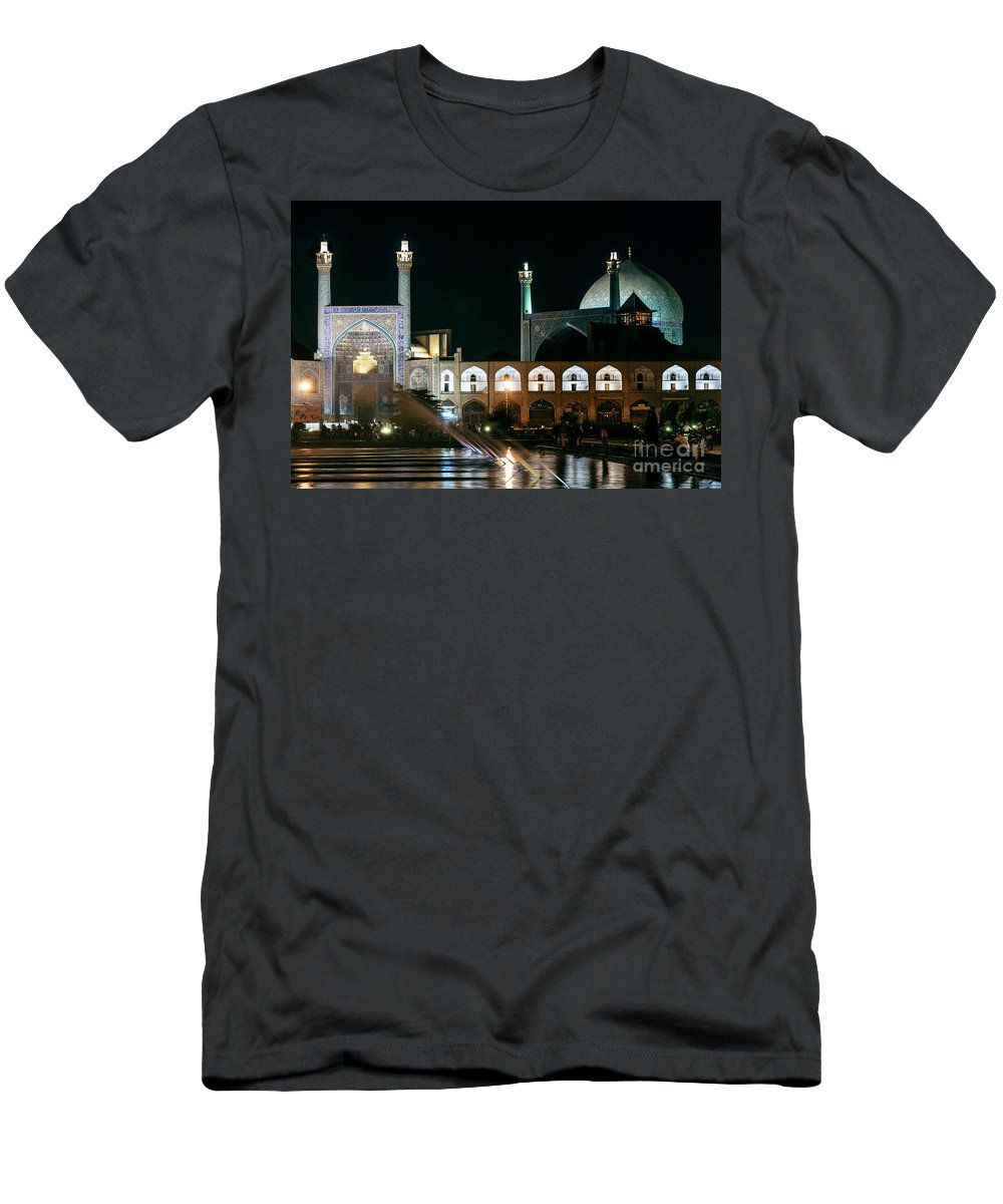Naqsh-e Jahan Square Men's T-Shirt (Athletic Fit) featuring the photograph The Shah Mosque Famous Landmark In Isfahan City Iran by Jacek Malipan