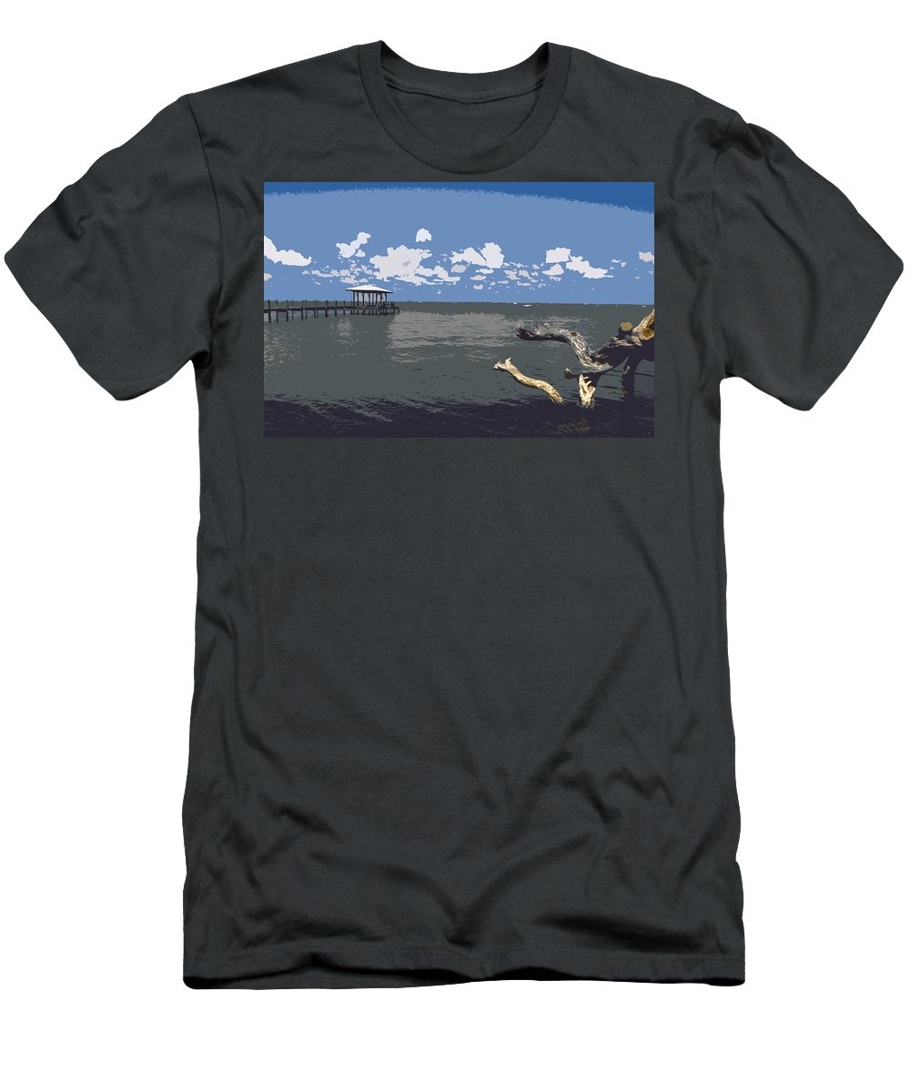 Lagoon Men's T-Shirt (Athletic Fit) featuring the painting Indian River Lagoon by Allan Hughes