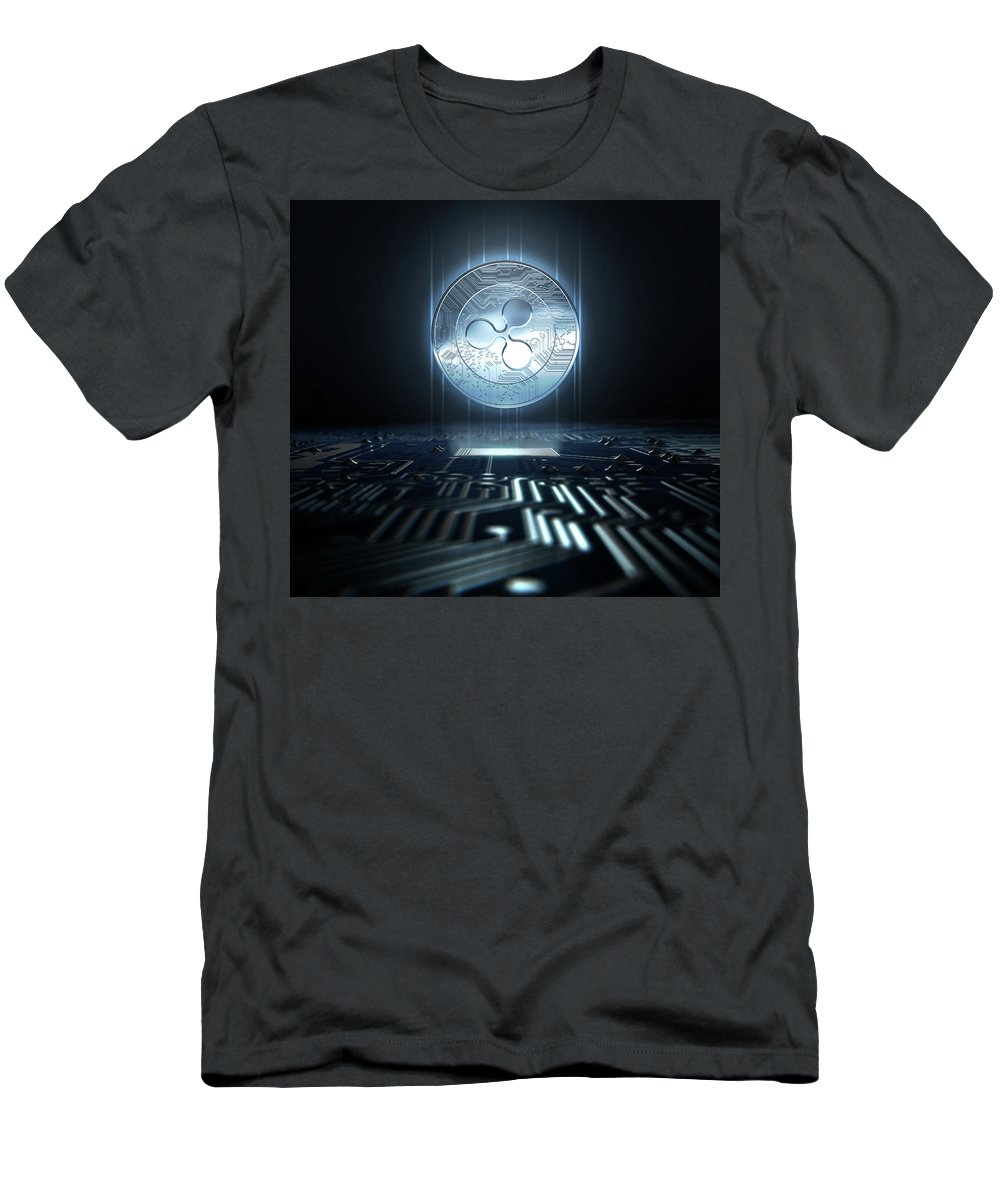 Ripple T-Shirt featuring the digital art Cryptocurrency And Circuit Board by Allan Swart
