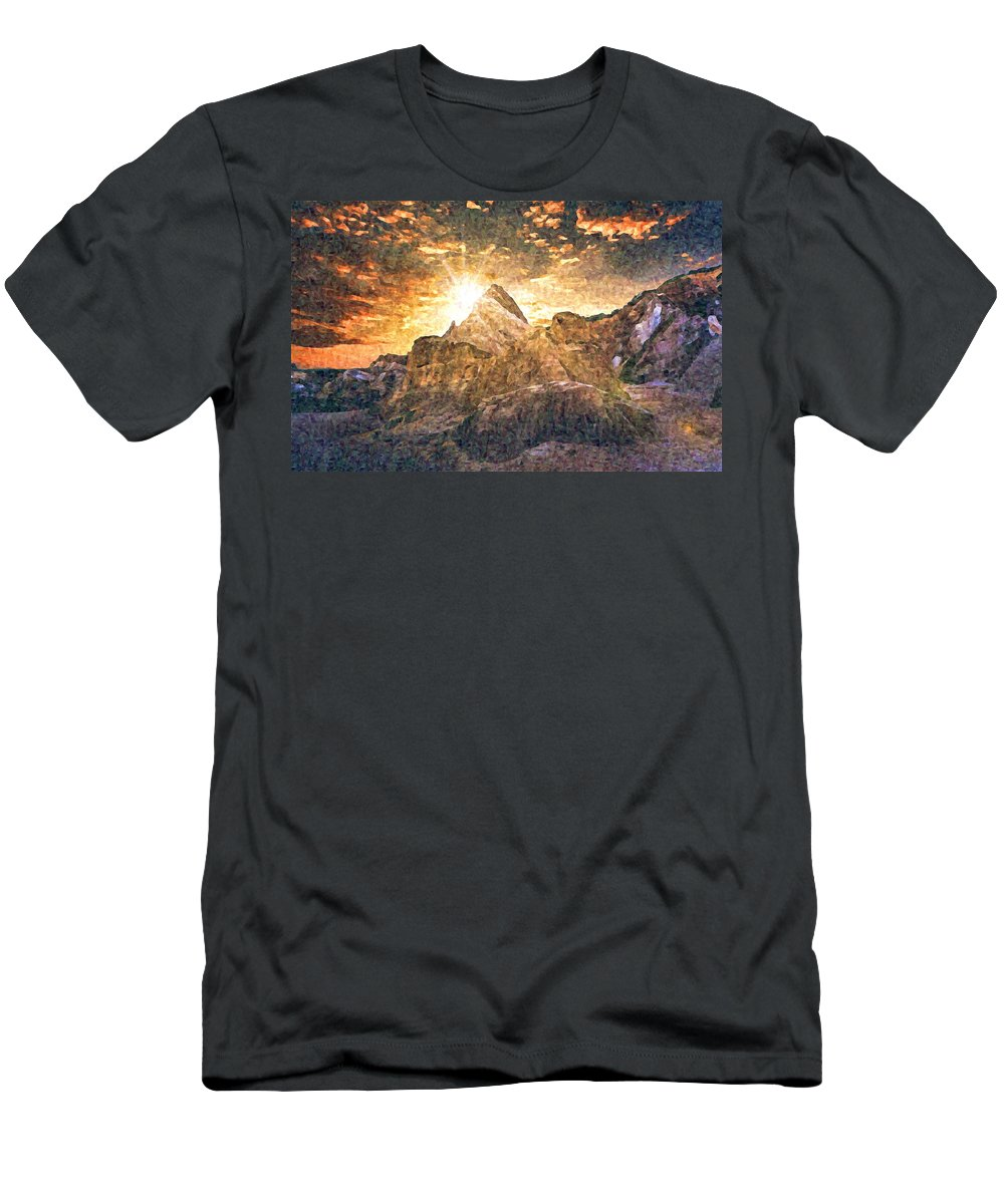 Sunset Men's T-Shirt (Athletic Fit) featuring the digital art Sunset by Lora Battle