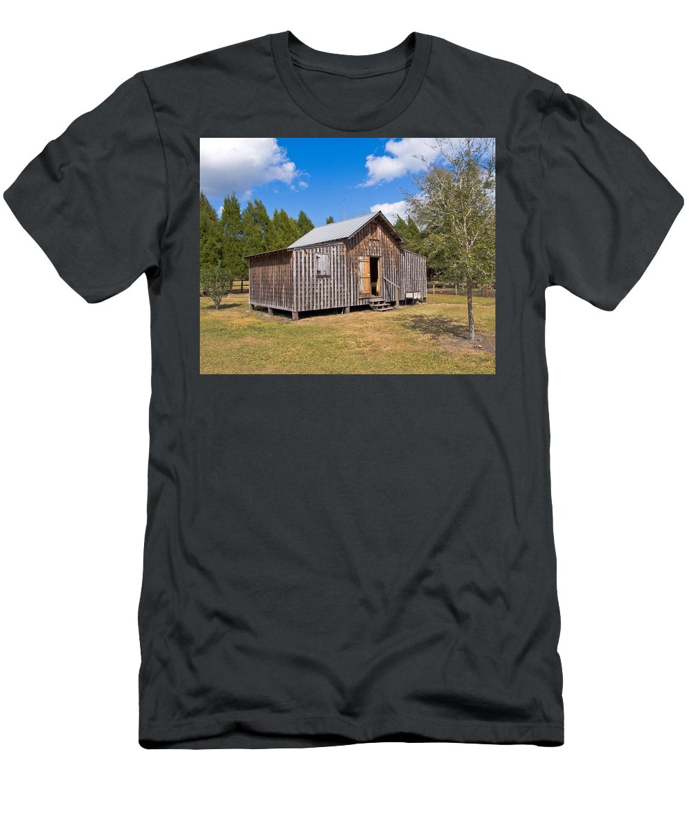 Cabin Men's T-Shirt (Athletic Fit) featuring the photograph 1905 Florida Wheeler Board And Batten House by Allan Hughes