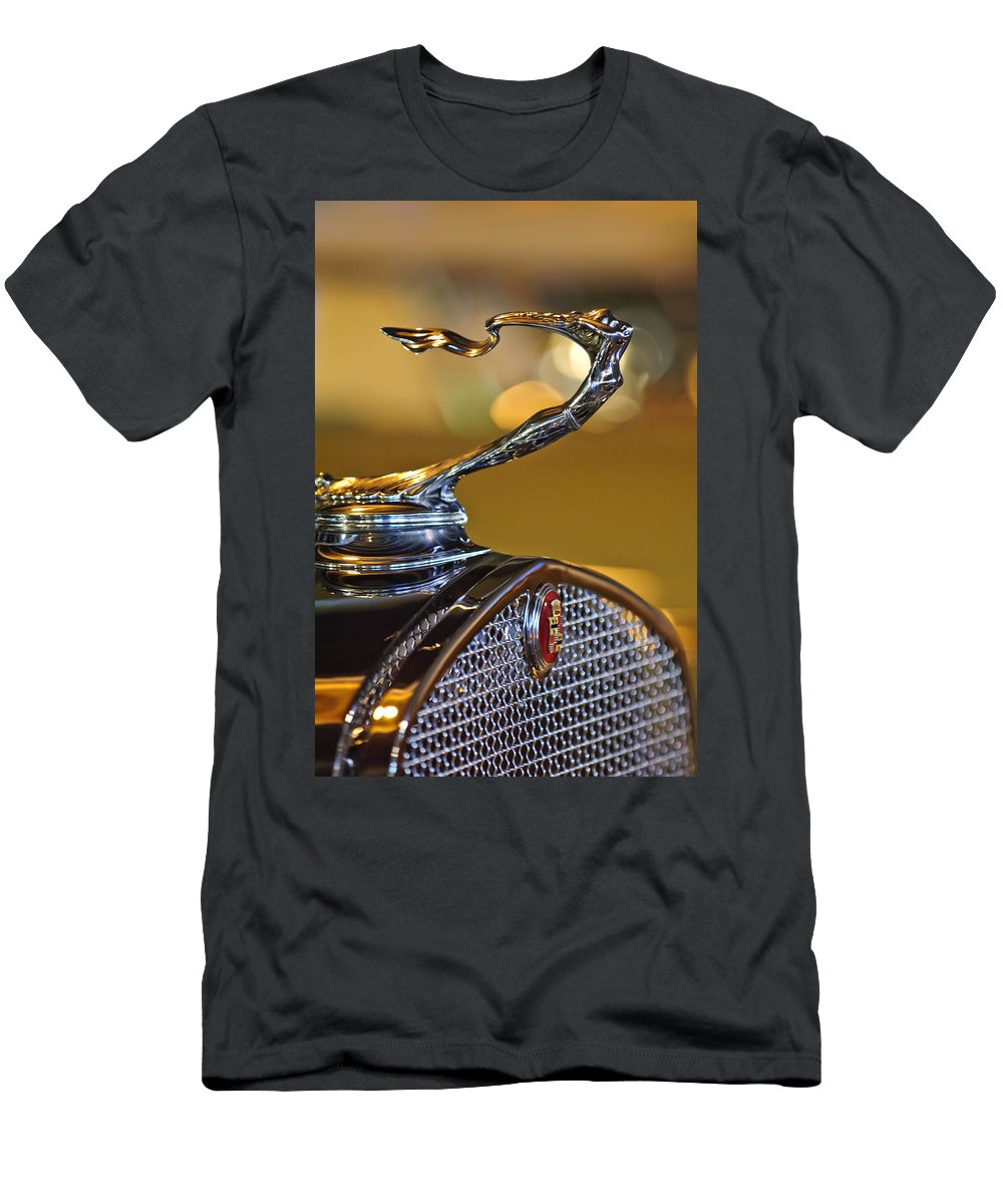 1930 Cadillac V-16 Roadster T-Shirt featuring the photograph 1930 Cadillac Roadster Hood Ornament by Jill Reger