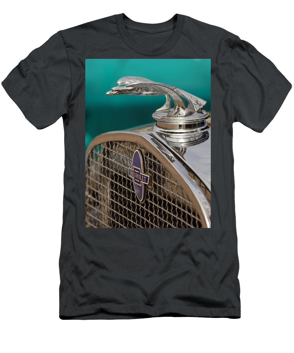 Car Men's T-Shirt (Athletic Fit) featuring the photograph 1931 Chevrolet Hood Ornament by Jill Reger