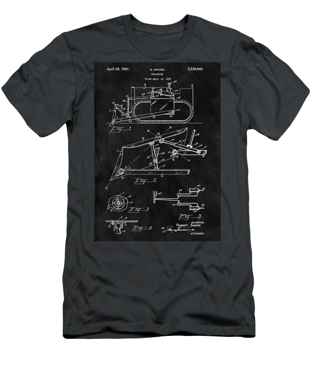 Vintage Bulldozer Patent Men's T-Shirt (Athletic Fit) featuring the drawing 1941 Construction Bulldozer by Dan Sproul