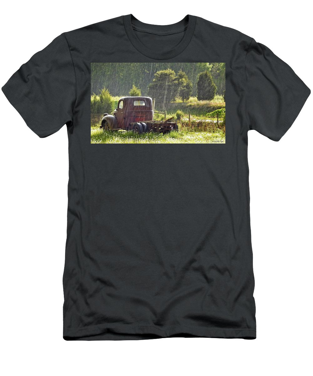 Nature Men's T-Shirt (Athletic Fit) featuring the photograph 1947 Dodge Pickup Rain And Sun by Matt Taylor