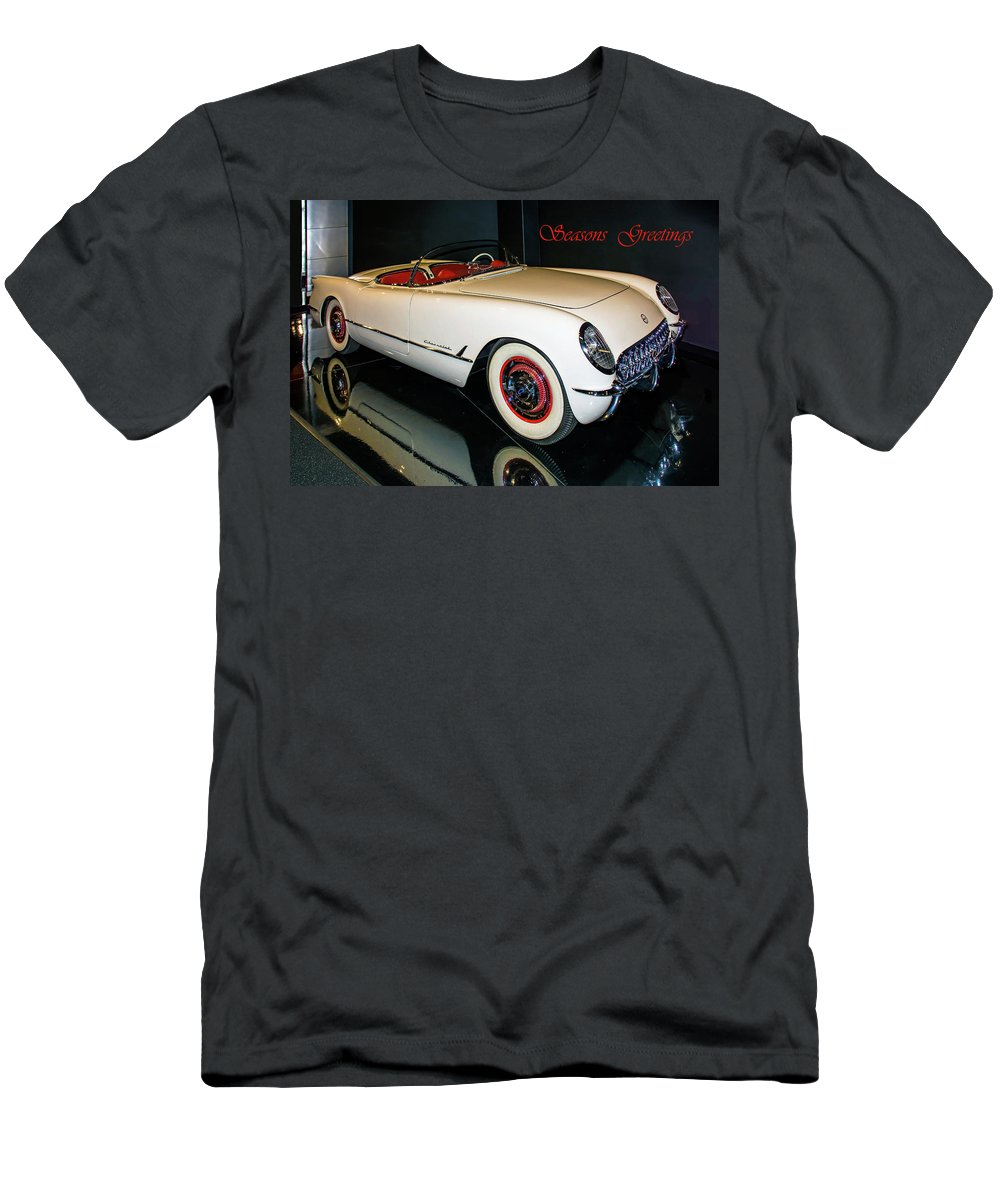 Classic Cars Men's T-Shirt (Athletic Fit) featuring the photograph 1954 Chevrolet Corvette Convertible by John Bartelt