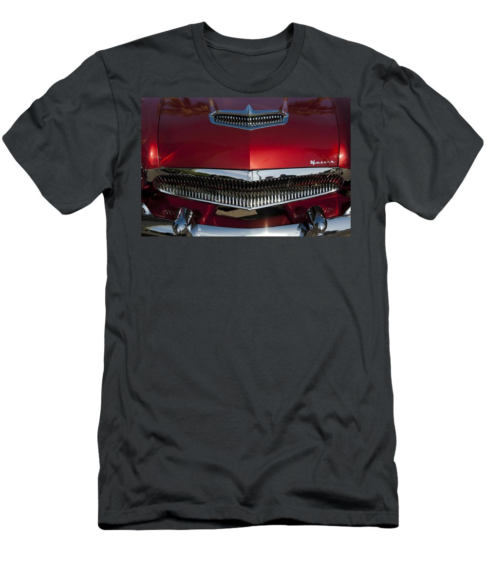 1955 Kaiser Men's T-Shirt (Athletic Fit) featuring the photograph 1955 Kaiser Hood Ornament And Grille by Jill Reger