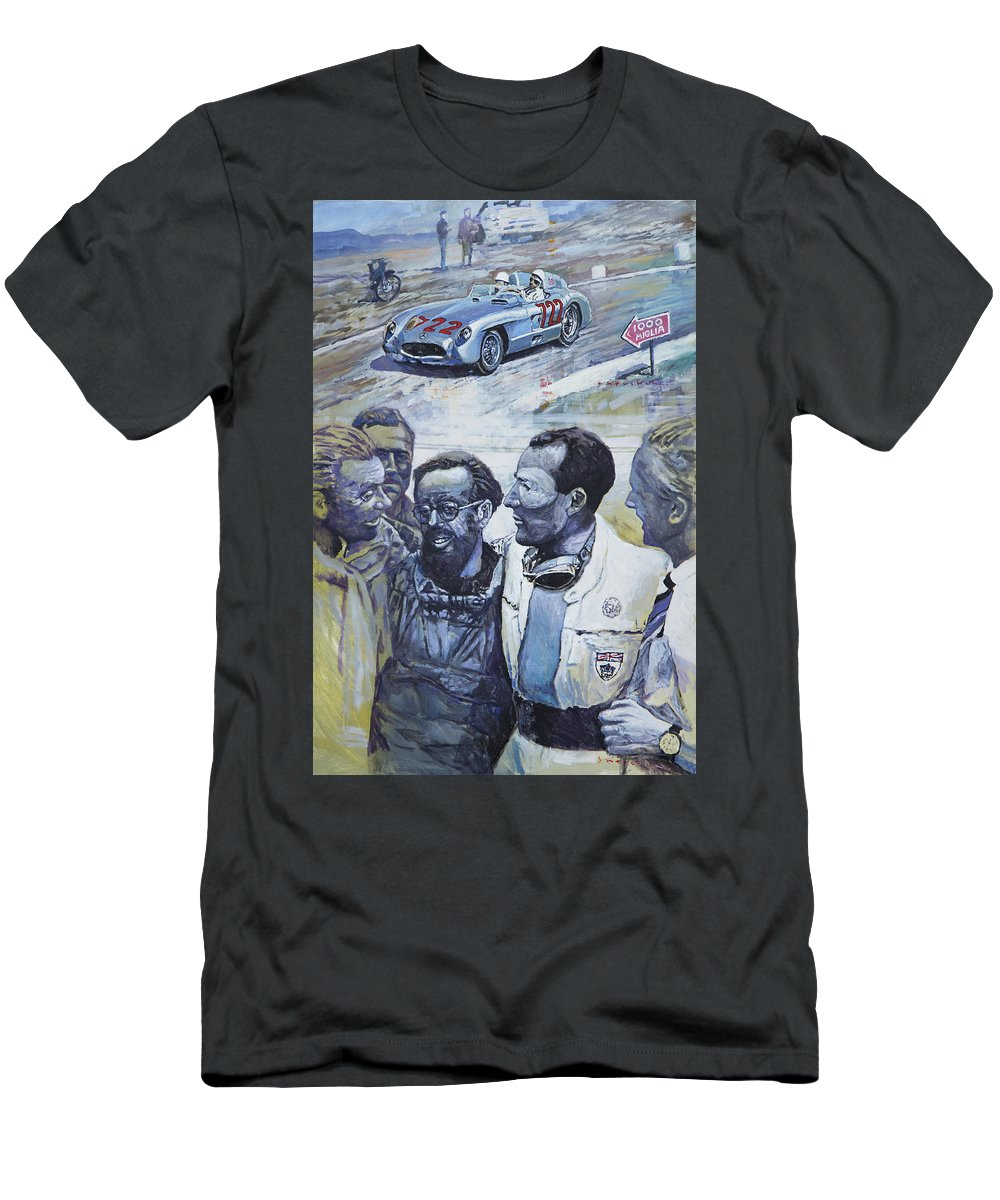 Acrilic Men's T-Shirt (Athletic Fit) featuring the painting 1955 Mercedes Benz 300 Slr Moss Jenkinson Winner Mille Miglia by Yuriy Shevchuk