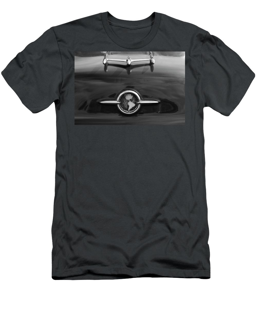 1955 Oldsmobile Holiday 88 Men's T-Shirt (Athletic Fit) featuring the photograph 1955 Oldsmobile Holiday 88 Hood Ornament 2 by Jill Reger