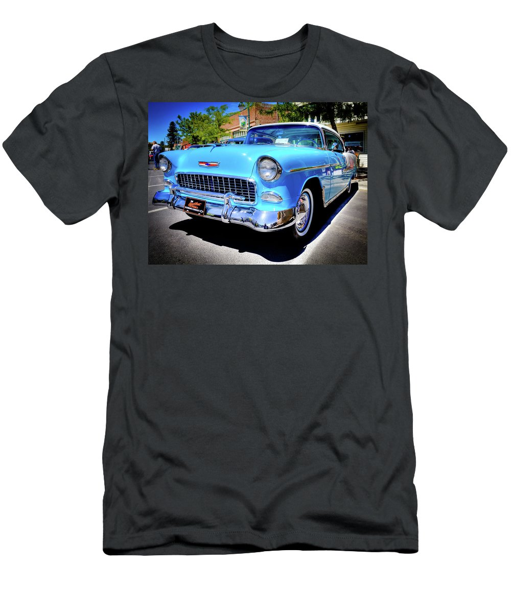 1955 Chevy Baby Blue Men's T-Shirt (Athletic Fit) featuring the photograph 1955 Chevy Baby Blue by David Patterson