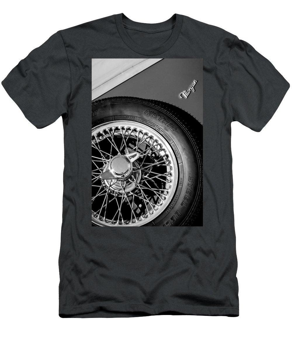 1964 Morgan 44 Spare Tire Emblem Men's T-Shirt (Athletic Fit) featuring the photograph 1964 Morgan 44 Spare Tire Black And White by Jill Reger