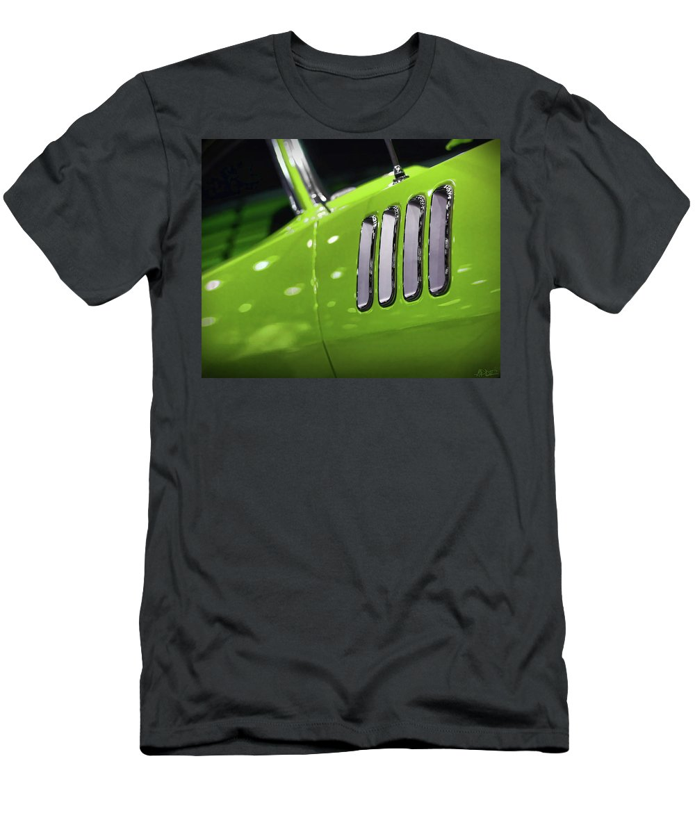 426 Men's T-Shirt (Athletic Fit) featuring the photograph 1971 Plymouth 'cuda Fender Gills by Gordon Dean II