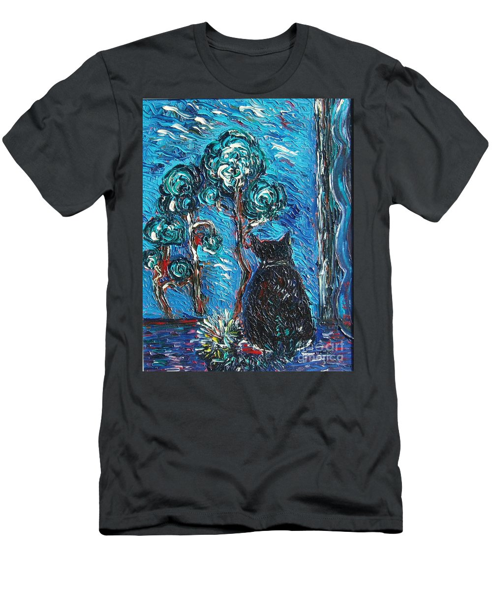 Cat Paintings Men's T-Shirt (Athletic Fit) featuring the painting A Black Cat by Seon-Jeong Kim