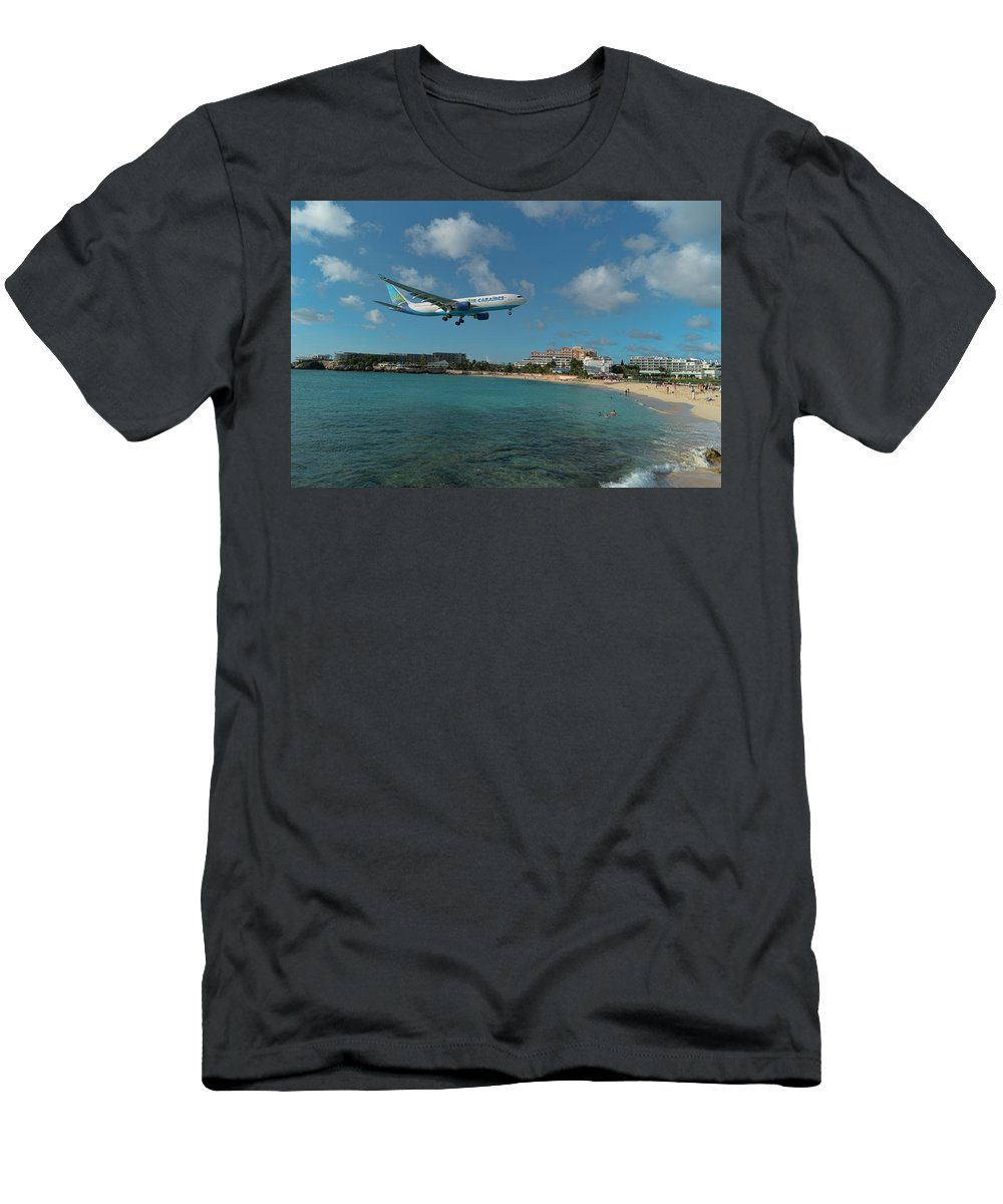 Airlines Men's T-Shirt (Athletic Fit) featuring the photograph Air Caraibes Landing At St. Maarten by David Gleeson