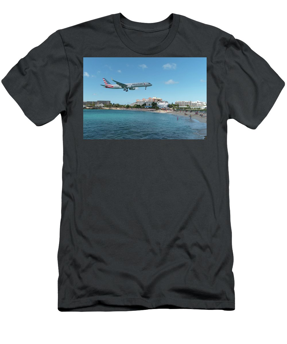 American Airlines Men's T-Shirt (Athletic Fit) featuring the photograph American Airlines Landing At St. Maarten by David Gleeson