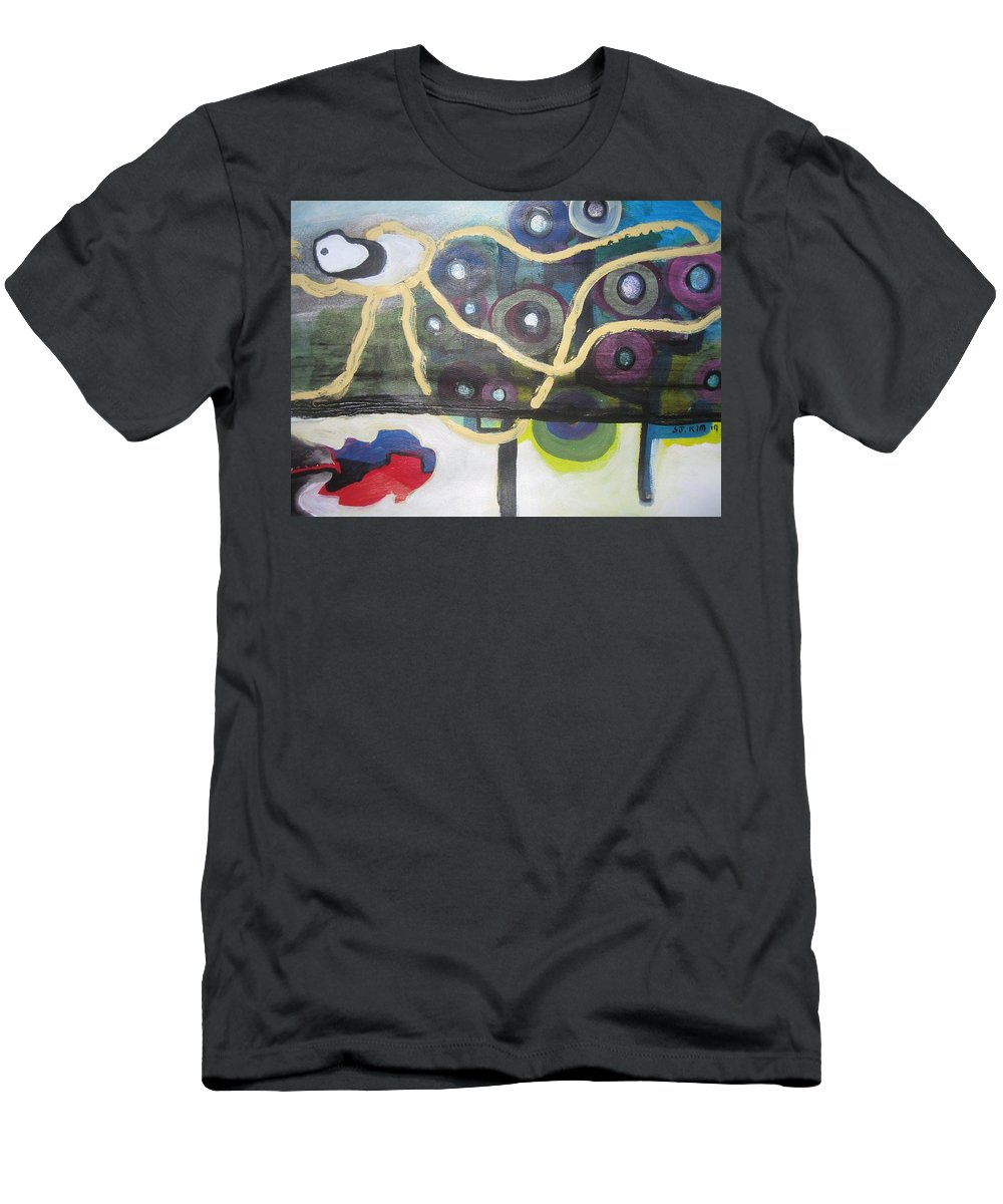 Abstract Contemporary Apple Tree Sun Plant Outdoor Blue Men's T-Shirt (Athletic Fit) featuring the painting Apple Trees by Seon-Jeong Kim