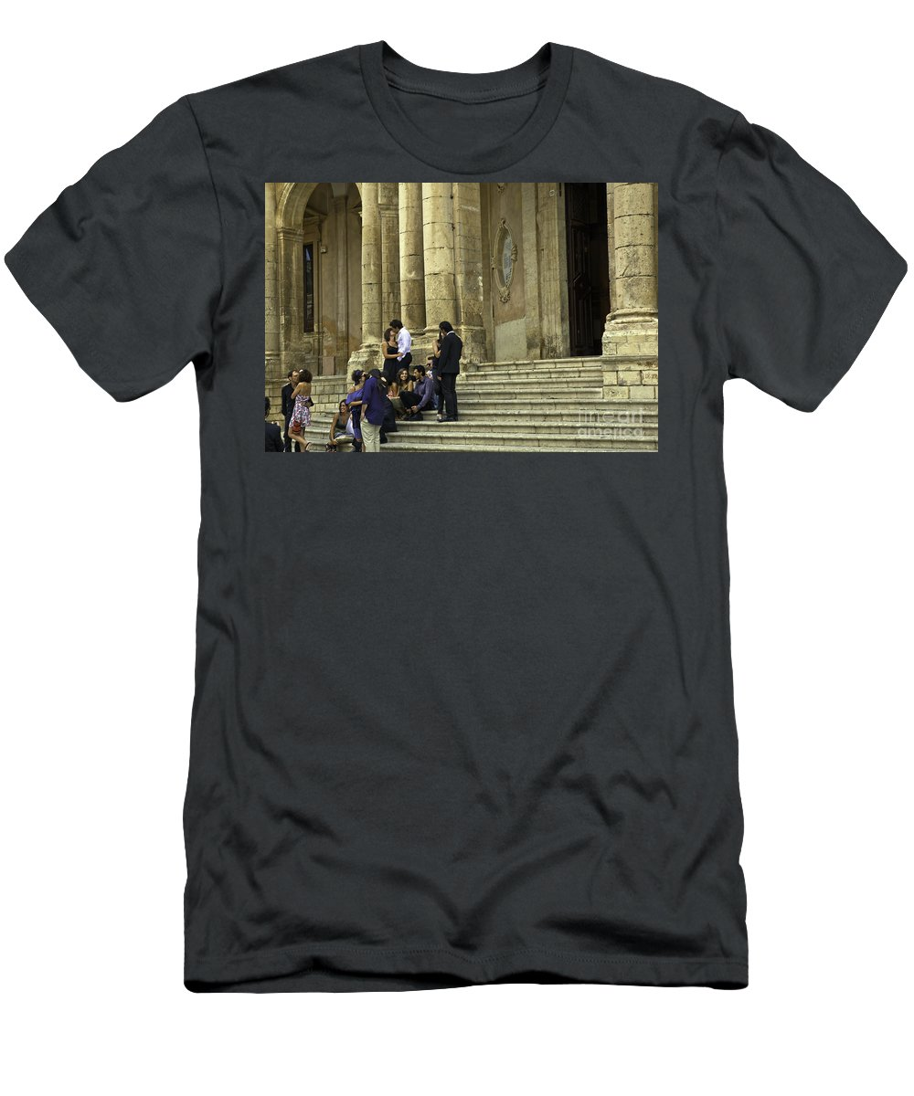 Church Men's T-Shirt (Athletic Fit) featuring the photograph Church Step Lovers by Madeline Ellis