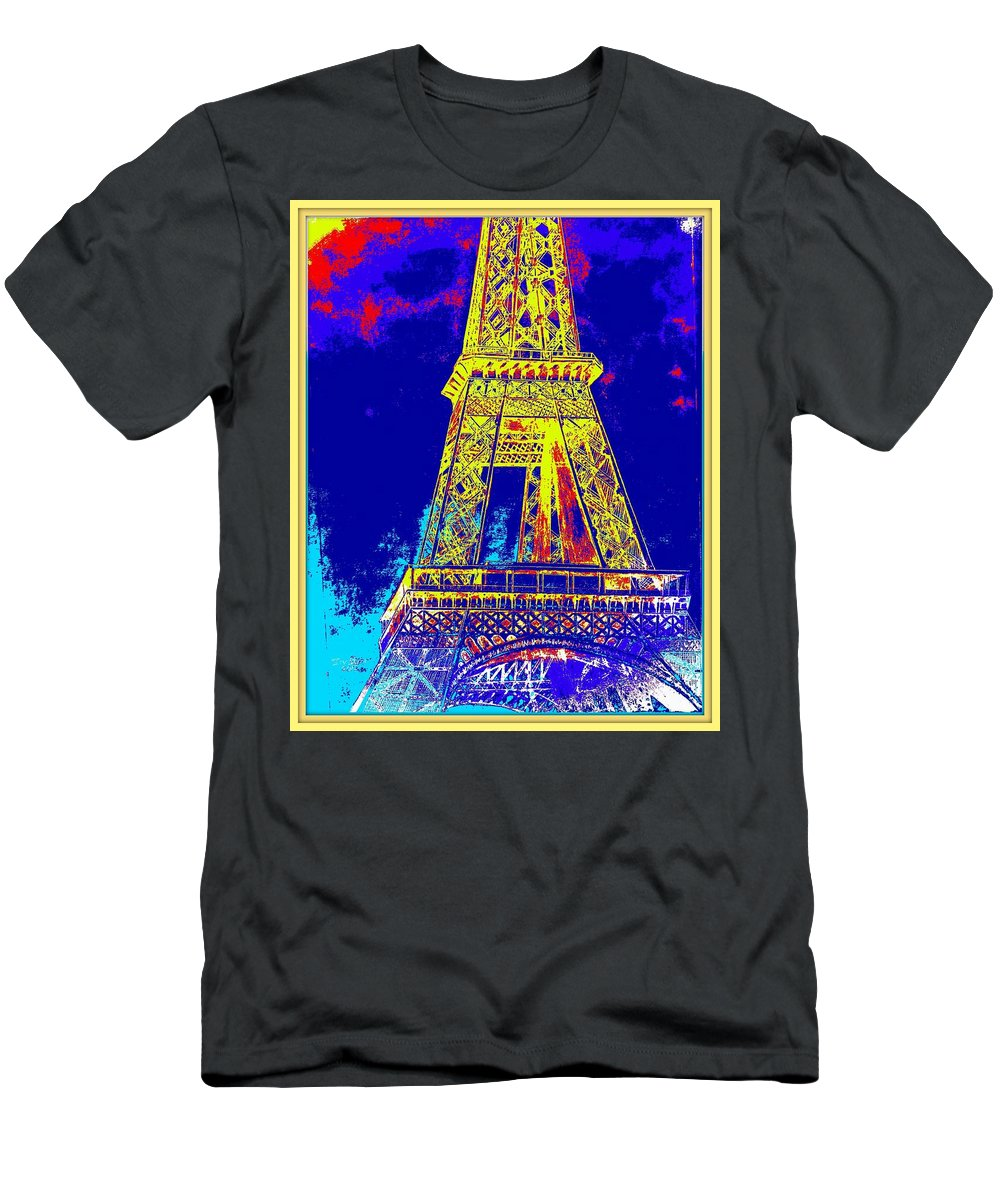 Eiffel Tower Men's T-Shirt (Athletic Fit) featuring the painting Eiffel Tower by Irving Starr